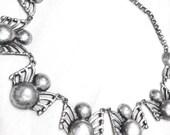 vintage silver necklace / spider