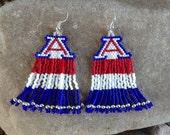University of Arizona Beaded Earrings with Fringe