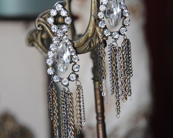 DECO FRINGE EARRINGS--Vintage Rhinestone Art Deco Posts with Vintage Gold And Silver Chains
