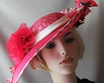 Red flowered wide brim hat