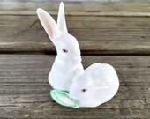 Miniature Porcelain Bunny Rabbit Herend Rabbit Figurine Rabbits with Corn