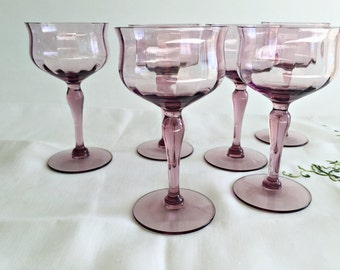 Vintage Chic Amethyst Crystal Stemware 6 Stemmed Cordial Liqueur Glasses Tulip Sherry Glasses Dessert Wine Optic Glass