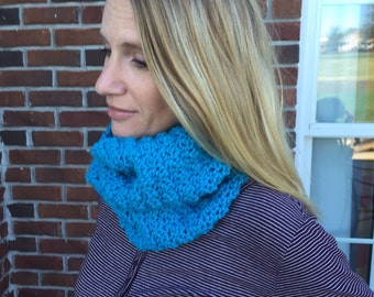 Crochet cowl scarf/ teal crochet  cowl/neck-warmer/gift