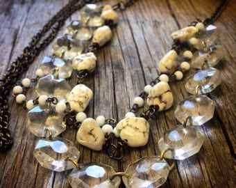 Upcycled long necklace repurposed vintage chandelier crystals white turquoise rustic chic jewelry vintage glam boho Joellie boutique gift