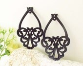 WP15 / #14 Black / Wood Flower Basket Pairs for Earring /Laser Cut Flower Basket Wooden Charm /Pendant /Filigree Laser Cut Wood Shape