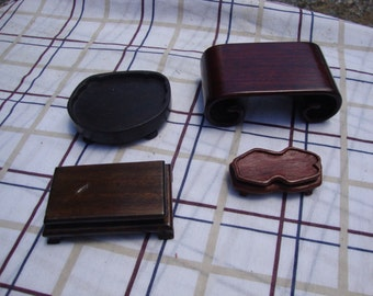 Collection of 4 Miniature Tables Doll House Furniture or Photography Props All Wood