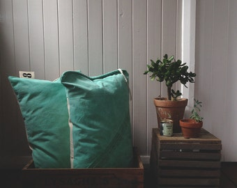 vintage green canvas cushion - oblong - made in australia