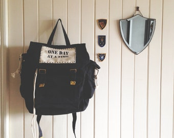 black haversack canvas - rustic style backpack - australia