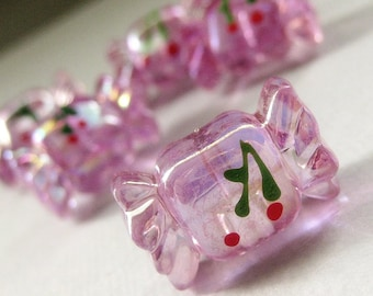Six (6) Purple Clear Lucite Cherry Candy Buttons 21mm x 13mm