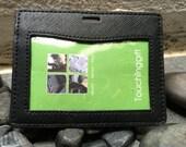 Genuine Leather Horizontal ID Badge Holder - Black