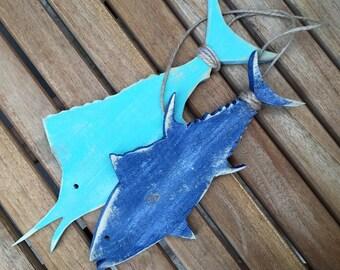 Made to order hanging wood salt water fish decor