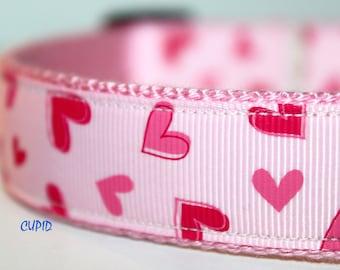 Heart Dog Collar, Valentine Dog Collar, Pink Dog Collar, Adjustable Dog Collar, Pink Heart Dog Collar, Girl Dog Collar
