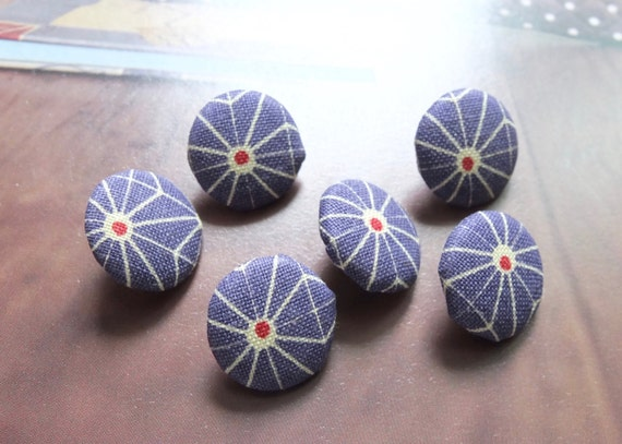 Fabric Covered Buttons (S) - Little Traditional Asanoha Floral, Purple (6Pcs, 0.55 Inch)