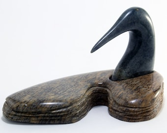 Roy Henry First Nations Sculpture Soapstone Carving Water Fowl Canada Artist