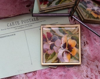Pansies on a Mirrored Compact, Made From a Recycled Postcard