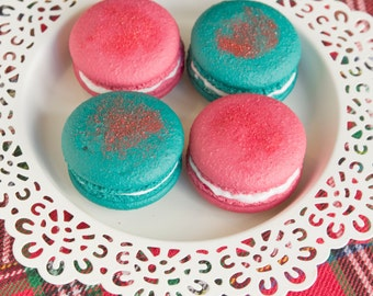 Fake French Macarons, Set of 4, Christmas Red and Green