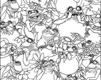 Frogs and Flowers Coloring Page (8.5x11)