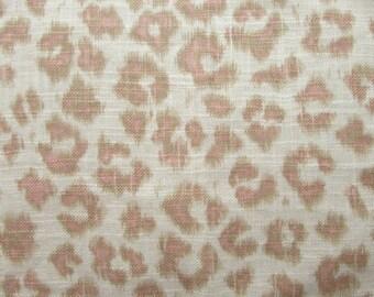 CHEETAH Print  Linen blush on cream, designer multipurpose fabric