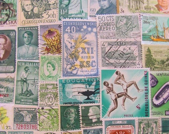Shades of Green 100 Vintage Postage Stamps March Madness Lime Emerald Moss Pine Olive Scrapbooking Supplies Ephemera US Worldwide Philately
