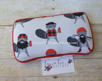 READY TO SHIP, Burly Beavers, Travel Wipe Case, Personalized Case, Baby Wipe Case, Diaper Wipe Case, Wipe Holder, Baby Shower Gift, Plaid