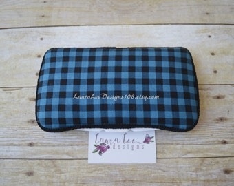 READY TO SHIP, Blue and Black Plaid, Travel Baby Wipe Case, Personalized Case, Diaper Wipe Case, Wipe Holder, Buffalo Plaid, Baby Shower