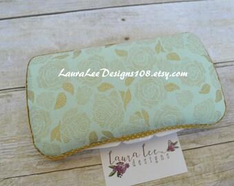 Metallic Gold Flowers on Mint Green, Travel Wipe Case, Personalized Wipe Case, Diaper Wipe Case, Baby Wipe Case, Baby Shower Gift, Wipecase
