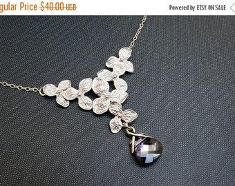 15OFFSALE Necklace, Silver Necklace, Hydrangea Necklace, Crystal Necklace, Montana Blue, Flower Necklace, Swarovski Crystal, No. NS097