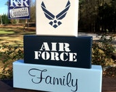 AIR FORCE Family Military Painted Blocks Decor Art Airmen Airman Academy sign