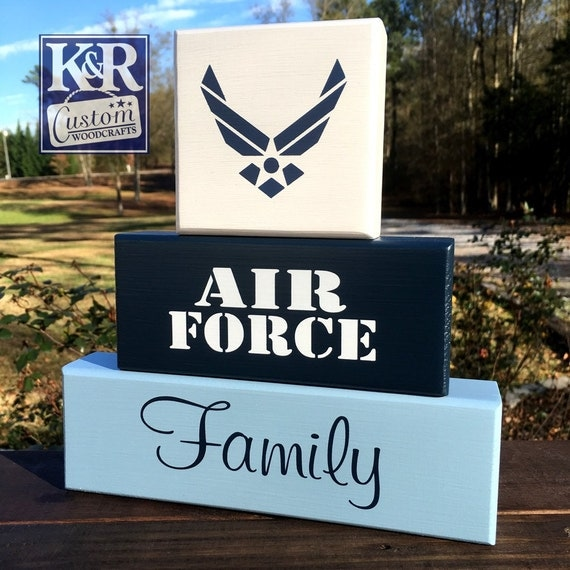 Air force family military painted blocks by krcustomwoodcrafts for Decor 6 form air force
