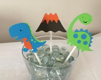 12 Dinosaur cupcake Toppers T Rex Tyranosaurus volcano dinosaur party birthday