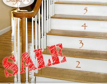 Numbers 0 thru 18 Vinyl Wall Decals: Vinyl Stair Decals, Stair Stickers, Vinyl Number Decals, Number Decor