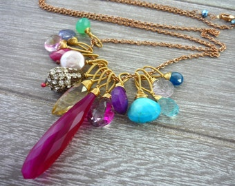 Pink blue & green mulit briolette necklace. Rose gold necklace fruit salad.