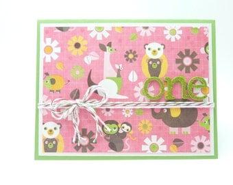 Little Girl's First Birthday Card, Happy Birthday Greeting Card for 1st Birthday, Baby Animal Card for Baby Girl, Handmade Greeting Card