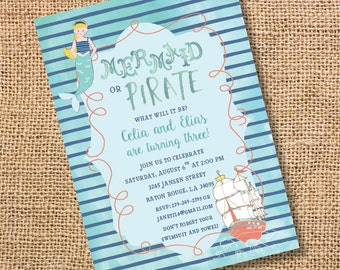 Mermaid Pirate Birthday Invitation Printable Mermaid Pirate Twins Party Whimsical Ocean Birthday Pool Party Boy Girl Twins Invitation