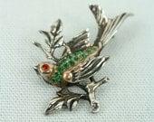1930s bird pin • sterling silver rhinestone songbird