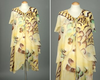 vintage SILK chiffon tunic • ethereal sheer robe / accent piece