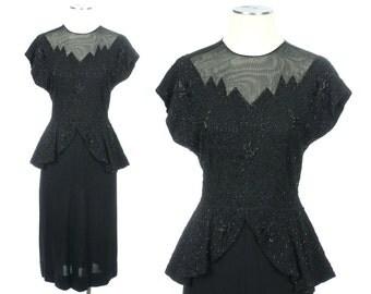 vintage 1940s peplum dress • BEADED illusion neckline beauty