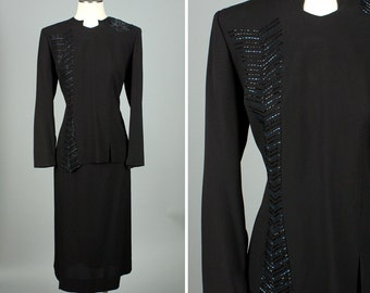 vintage 1940s rayon dress set • asymmetrical details beaded suit • 32 waist