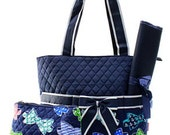 Navy Quilted Bow Tie Diaper Bag Set Changing pad..Personalize it for FREE... at no charge.... WOW What a Deal
