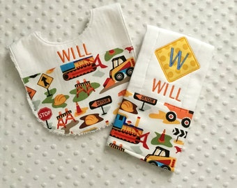 Baby Boy Personalized 2 Piece Gift Set  - Bib and Burp Cloth- Construction Theme