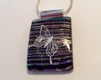 Dichroic glass,Handmade dichroic glass jewelry, Butterfly Pendant, Fused Glass Jewelry - Fused butterfly Dichroic Necklace- Dichroic Glass