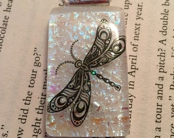 Dichroic glass jewelry, dragonfly pendant, Dichroic Glass Pendant, Fused Glass Jewelry, Fused glass pendant, glass Necklace, Dichroic Glass