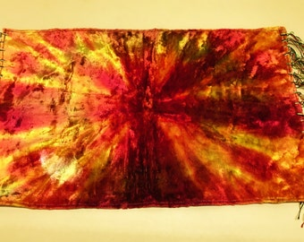 Vintage Antique Velvet Table Runner with Fringe Rich Sunburst Colors