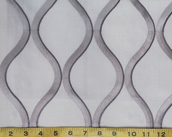 Custom Curtains Valance Roman Shade Shower Curtains in Silver Abstract Trellis Pattern Fabric