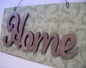 HOME Sign Wall Decor Green Single Word Sign