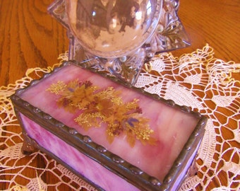Antique Jewelry Box Pink Slab Glass warm patina lead welded and brass legs