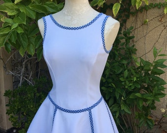 1960s vintage Saks Fifth Avenue white mod super mini skirt top slevveless drop waist ruffle skirt dress size XS blue ginghamS