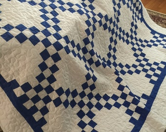 Quilt Irish Chain Blue and White Queen Ready to Ship