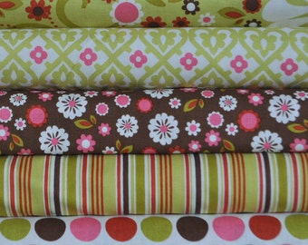 Indian Summer Green Main 5 Fat Quarters Bundle by Zoe Pearn for Riley Blake, 1 1/4 yards total