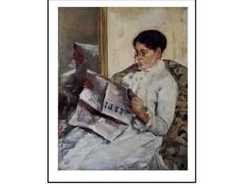 """Mary Cassatt, """"Mrs. Cassatt Reading Le Figaro"""", Vintage Color Plate of 1883, Unframed Fine Art Book Plate"""
